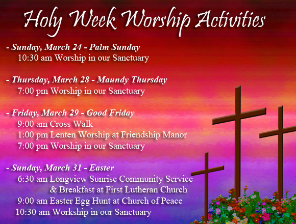Holy Week Worship Activities