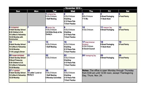 November Calendar Posted